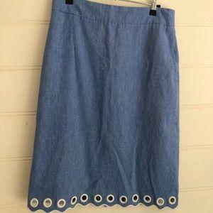 Denim skirt with nautical hemline